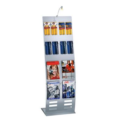 Infoständer tec-art breit silber für 8 Fächer A4/16 Fächer DIN lang