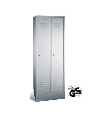 Spind S 2000 Classic, Metall, 2 Abteile mit 2 Fächern, abschließbar, 61x180cm (BxH), lichtgrau