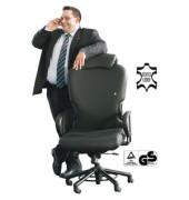 Chefsessel XXXL Leder mit Nackenstütze bis 200kg schwarz (Montage)