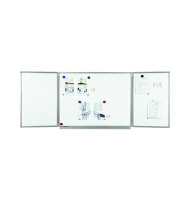 Klapp-Whiteboard Professional 90 x 120cm emailliert Aluminiumrahmen