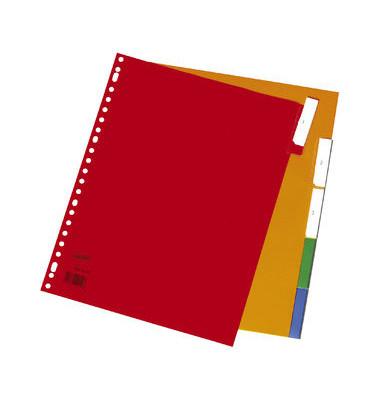 Register blanko A4+ 0,12mm farbige Taben 5-teilig Fenstertabe