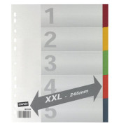 Kartonregister 2941346 XXL blanko A4+ 225g farbige Taben 5-teilig