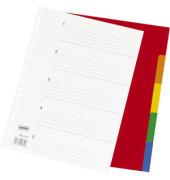 Kunststoffregister 2964387 blanko A4 0,12mm farbige Taben 5-teilig