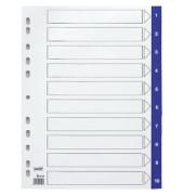 Register 1-10 A4 0,12mm blaue Taben 10-teilig