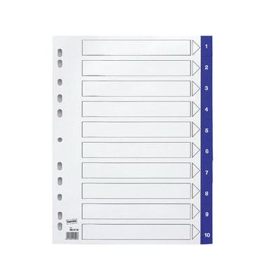 Kunststoffregister 3028705 1-10 A4 0,12mm blaue Taben 10-teilig