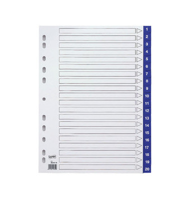 Kunststoffregister 3028775 1-20 A4 0,12mm blaue Taben 20-teilig