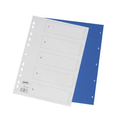 Register 1-5 A4 0,12mm blaue Taben 5-teilig