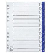 Kunststoffregister 3028794 1-12 A4 0,12mm blaue Taben 12-teilig