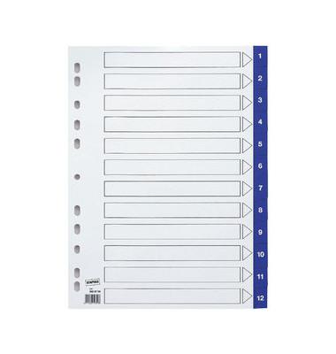 Register 1-12 A4 0,12mm blaue Taben 12-teilig