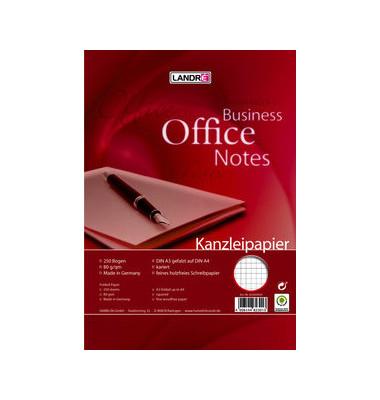 Kanzleipapier OFFICE A3 auf A4 gefalzt kariert ohne Rand weiß 250 Blatt