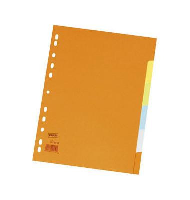 Kartonregister blanko A4 220g farbige Taben 5-teilig