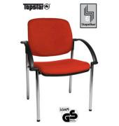 Visitor Open Chair 20 rot Besucherstuhl OC290A T31 gepolstert mit Stoffbezug mit Armlehnen