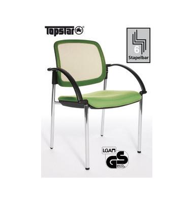 Visitor Open Chair 10 hellgrün Besucherstuhl OC190A T35 mit Netzrücken und Armlehnen