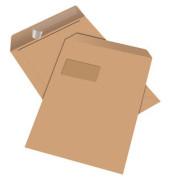 Versandtaschen C4 mit Fenster haftklebend 100g braun 50 Stück