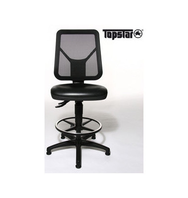 Arbeitsdrehstuhl Tec 80 Counter mit Gleitern schwarz