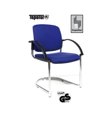 Visitor Open Chair 40 blau Schwingstuhl OC490A T38 gepolstert mit Stoffbezug mit Armlehnen