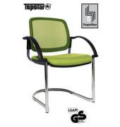 Visitor Open Chair 30 hellgrün mit Armlehnen und Polsterung