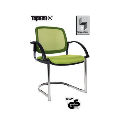 Visitor Open Chair 30 hellgrün Schwingstuhl OC390A T35 mit Netzrücken mit Armlehnen
