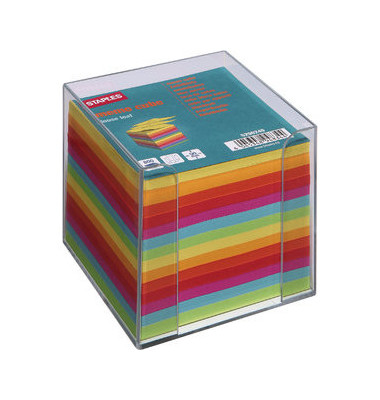 Zettelbox 90 x 90mm transparent Inhalt farbig sortiert 800 Blatt