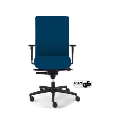 Bürodrehstuhl Sim-O mit Armlehnen blau Hartbödenrollen