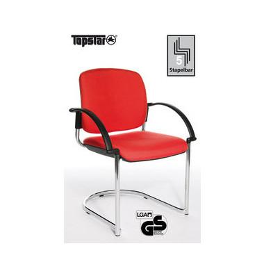 Visitor Open Chair 40 rot mit Armlehnen und Polsterung