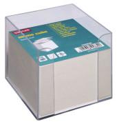 Zettelbox 90 x 90mm transparent Inhalt grau 800 Blatt
