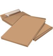 Faltentaschen B4 ohne Fenster 40mm Falte haftklebend 130g braun 100 Stück