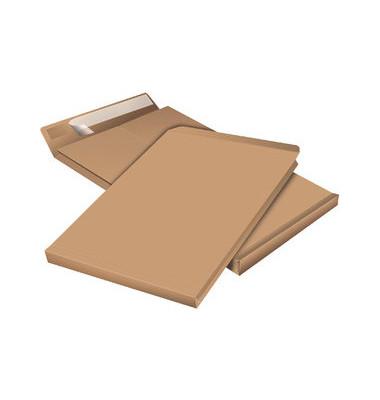 Faltentaschen B4 ohne Fenster 40mm Falte haftklebend braun 100 Stück