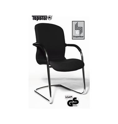 Visitor Open Chair 100 schwarz mit Armlehnen und Polsterung