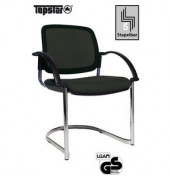 Visitor Open Chair 30 schwarz mit Armlehnen und Polsterung