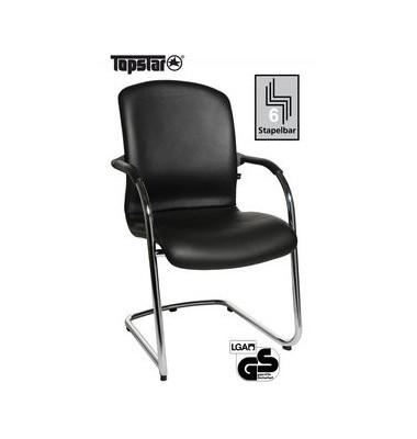 Visitor Open Chair 110 schwarz Leder mit Armlehnen und Polsterung