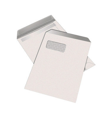 Versandtaschen C4 mit Fenster selbstklebend 100g weiß 250 Stück