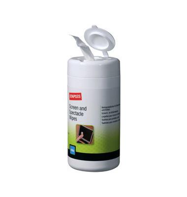 Reinigungstücher feucht für Bildschirme/Monitor/Brille Spenderdose 100 Tücher