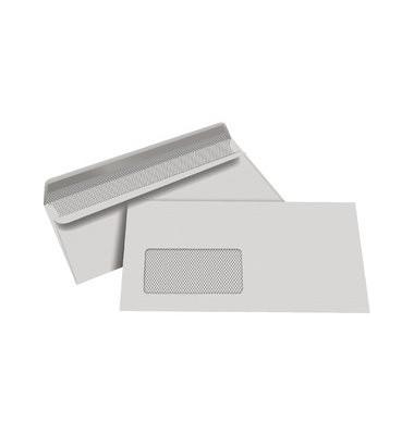 Briefumschläge Din Lang mit Fenster selbstklebend 80g grau 1000 Stück Recycling