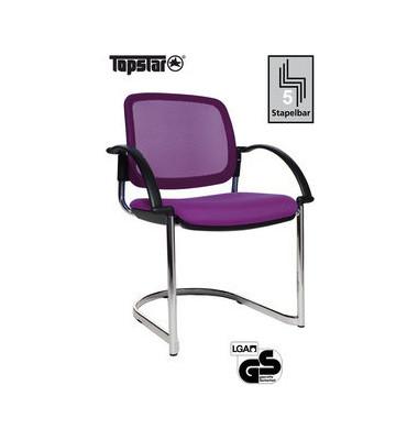 Visitor Open Chair 30 lila Schwingstuhl OC390A T33 mit Netzrücken mit Armlehnen