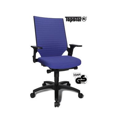 Bürodrehstuhl Autosyncron-2 mit Armlehnen blau
