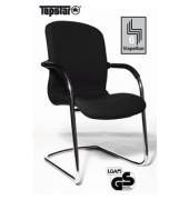 Visitor Open Chair 100 schwarz Schwingstuhl Echtleder OC590 A80 mit Armlehnen