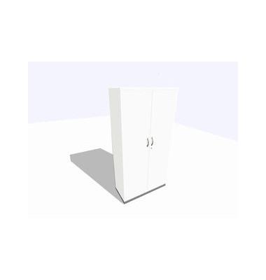 Garderobenschrank ClassicLine, Melamin , 1 Abteil mit 1 Fach, abschließbar, 100x198cm (BxH), weiß