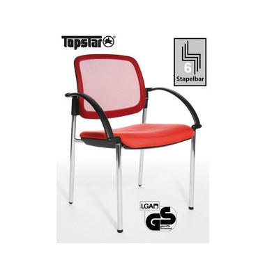 Visitor Open Chair 10 rot Besucherstuhl OC190A T31 mit Netzrücken mit Armlehnen