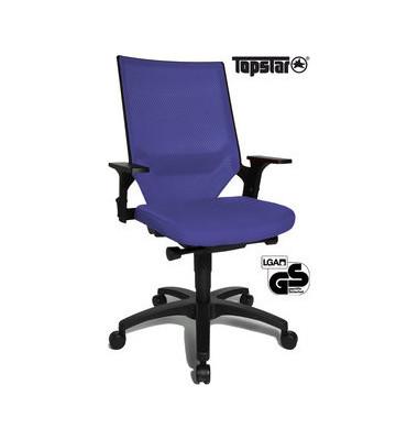 Bürodrehstuhl Autosyncron-1 mit Armlehnen blau