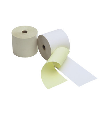 Kassenrollen 57mm x 24m Kern-Ø 12mm weiß/gelb 2-fach selbstdurchschreibend 5 Stück