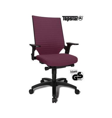 Bürodrehstuhl Autosyncro 2 mit Armlehnen bordeaux
