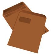 Versandtaschen C4 mit Fenster selbstklebend 100g braun 250 Stück
