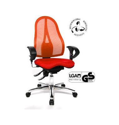 Bürodrehstuhl Sitness 15 mit Armlehnen rot