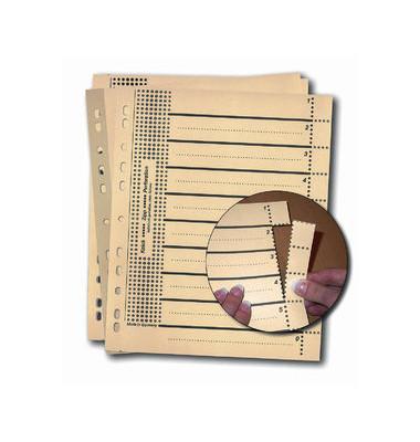 Trennblätter 957110 A4 chamois/schwarz perforierte Taben 230g 100 Blatt Recycling