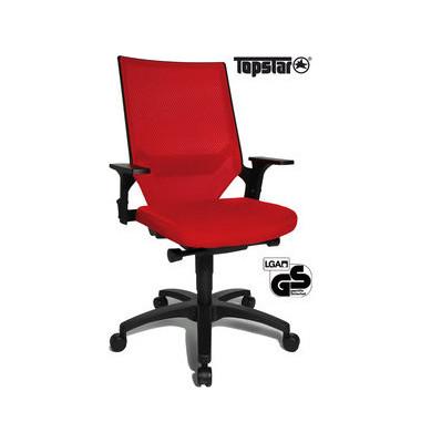 Bürodrehstuhl Autosyncro 1 mit Armlehnen rot