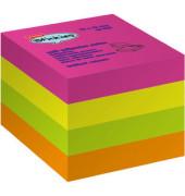 Haftnotizwürfel stickies 76 x 76mm neon 4-farbig sortiert 4 x 100 Blatt