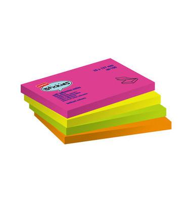 Haftnotizen stickies 127 x 76mm neon 4-farbig sortiert 12 x 100 Blatt