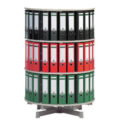 Ordnerdrehsäule 3 Etagen alusilber Durchmesser 81 cm für 72 Ordner