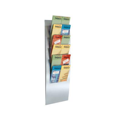 Wandprospekthalter Varia silber 6 Fächer DIN A4,A5 oder DL